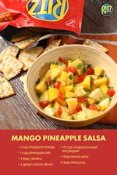 "Nothing says ""it's summer,"" like a fresh salsa recipe. This one combines mango, pineapple, pepper, cilantro and lime juice for a sweet and spicy combo. Pair it with our Toasted Chips for instant party fun! Party Platters, Food Platters, Appetizer Ideas, Appetizers For Party, Mango Pineapple Salsa, Fresh Salsa Recipe, Cooking Sauces, Food Bars, Party Fun"
