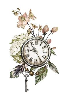 new ideas for wall paper floral watercolor clip art Pocket Watch Tattoos, Clock Tattoo Design, Tattoo Designs, Clock Tattoos, Tattoo Ideas, Baby Tattoos, Decoupage Paper, Decoupage Chair, Vintage Diy