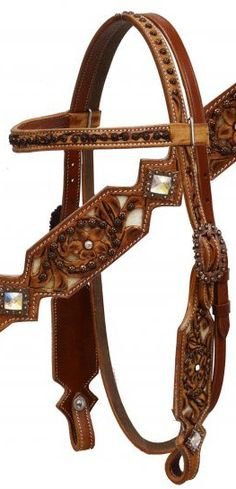 Saddles Tack Horse Supplies - ChickSaddlery.com Showman Floral Tooled Headstall, Breast Collar, Reins Set With Cowhide Inlay And Cut Floral Tool