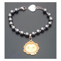 SAGAPO BRACCIALE perle grigie con LEONE sagapò happy S agapò SHAC05 SHA111 CHARM