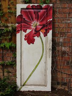 SOLD GuildMaster Red Floral Door Panel (Check local Restores/salvage yards for old doors to recreate similar painting idea-and you can add flowers where you can't add flowers too!)