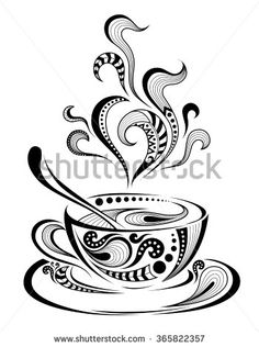 Patterned Cap Of Coffee. Batik/African / Indian / Totem / Tattoo Design Stock Vector - Illustration of paws, curl: 65550679 Doodle Art Drawing, Pencil Art Drawings, Art Drawings Sketches, Totem Tattoo, Coffee Cup Art, Coffee Love, Cup Of Coffee Drawing, Coffee Painting, Cup Of Coffee Images