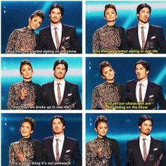 Nina Dobrev and Ian Somerhalder Haha I loved this speech!