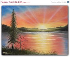 Original Art Paintings Sunset Sky Oil Painting Sunset by BingArt, $44.97