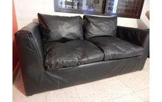 sillon de 3 cuerpos - cuero ecologico negro - usado