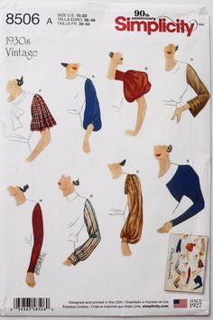 Simplicity 8506 Misses Vintage 1930's Set Of Sleeves Bodice Guide sld 9.5+2.77 12/11/17