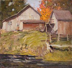 Lawren Harris, 'Farm Buildings by a Stream' at Mayberry Fine Art 10.5 x 10 (1912)