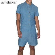 f927a72896af 2017 summer New fashion short sleeves jumpsuit Men Comfortable shorts  rompers For Boy Cotton Linen Sets Casual party overalls