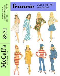 """McCalls 8531, for 11 1/4 """" doll such as francie, barbies modern cousin! reproduced pattern, available at http://www.buggsbooks.com"""