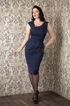 Vintage chic Pleated Midi Dress Navy 100 31 16234 20150925 03W