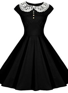 VIISHOW Womens Classy Vintage Audrey Hepburn Style 1940's Rockabilly Evening Dress (M, 2-Black)