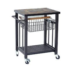 Amazon.com: Sunjoy Hansel Serving Cart Made of Steel With Included Bamboo Cutting Board, 24.8 Inches by 20.5 Inches by 33 Inches: Patio, Lawn & Garden