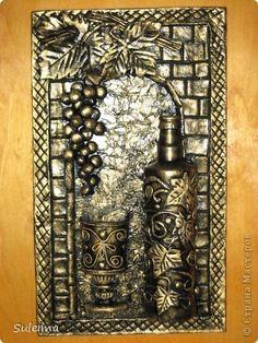 Картина панно рисунок Лепка Коллаж Бумага Бутылки стеклянные Тесто соленое