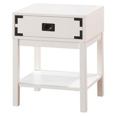 The Threshold Campaign Nightstand - White takes inspiration from Japanese tansu designs, with bronze metal details that offset its white finish. Built with hardwood, this piece is meant to last, and its unique appearance makes it a gracious nightstand or accent table. A single drawer offers storage for odds and ends, while a simple shelf is ideal for shelving current reads.