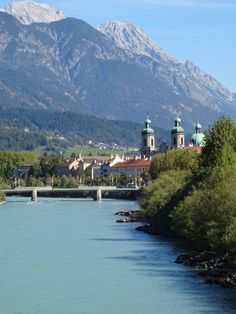 The river and views at Innsbruck, Switzerland in summer Innsbruck, Alps, Austria, Touring, Switzerland, Travel Destinations, Scenery, Europe, River