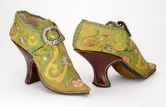 High heels from the era of Louis XVI, a notably frivolous time for footwear, at least among the aristocracy. I wonder if today's similar proliferation of Gaga-esque heels suggests something rather unflattering about First World income disparity...