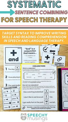 """Work on creating compound and complex sentences with this easy-to-use, systematic resource for speech therapy! Sentence combining is a research-supported skill for improving writing skills and reading comprehension in speech and language therapy. In this packet, I have included 5 levels to progress your students from simpler sentence combining work (e.g., using """"and"""" to combine sentences or embedding of adjectives/adverbs) up to more difficult sentence combining work. #speechtherapy #syntax Speech Therapy Activities, Language Activities, Writing Activities, Learning Resources, Speech Language Therapy, Speech And Language, Expressive Language Disorder, Improve Writing Skills, Complex Sentences"""