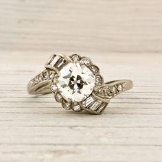1.17 Carat Old European Cut Diamond Engagement Ring