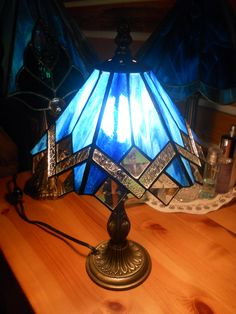 stained glass blue bevel mini lamp