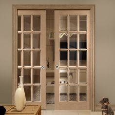 Double Pocket SA 15 Pane Oak Door with Bevelled Clear Safe Glass. #glazeddoors #pocketdoors #doublepocketdoors