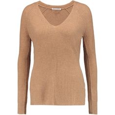 Autumn Cashmere - Ribbed Cashmere Sweater ($184) ❤ liked on Polyvore featuring tops, sweaters, camel, striped cashmere sweater, wool cashmere sweater, cashmere top, pure cashmere sweaters and camel cashmere sweater
