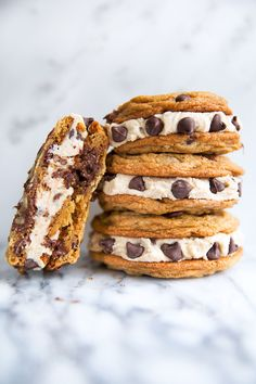 Chocolate chip cookie dough frosting sandwiched between giant chocolate chip cookies