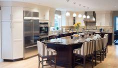 granite kitchen island 5 chairs with vertical stripes pattern dark wood lower cabinets