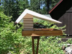 This diner bird feeder is designed after the big roof diners of the 50's and 60's