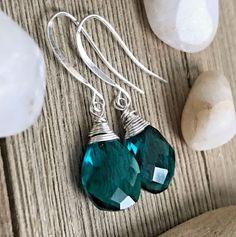 Min Favorit Peacock Teal Hydroquartz Briolette & Silver Pl Artisan Wrap Earrings #minfavorit #DropDangle