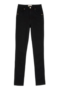 High waist, slim through the thigh and all the way to the ankle. Wash is Black Rain. Fabric is cotton and elastene. Off Black, High Waist Jeans, Thighs, Black Jeans, Rain, Ankle, Black Beauty, Cotton, Pants