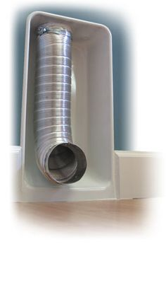 Dryerbox - Collecting the Vent Hose Neatly in the Wall eliminates having to leave space behind the dryer for the hose....you can push the back of the dryer right up to the wall!