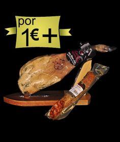 Por 1,00€ más 1 #jamón #ibérico de cebo en montanera, 1/2 #chorizo #ibérico de cebo en montanera o 1/2 #salchichón #ibérico de cebo en montanera. Mira el precio. http://www.jamonibericosalamanca.es/es/promocion