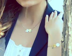 Disco de oro plata disco collar cepillado collar collar