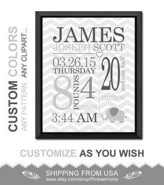 personalized birth stats print neutral birth announcement gifts baby wall decor gray new baby decor gift for new parents baby birth details by PinkeeHome on Etsy