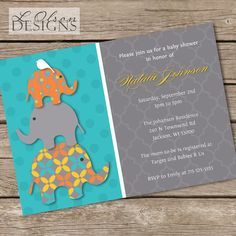 Stacked Teal and Orange Elephants Baby Shower by LOlsonDesigns, $15.25