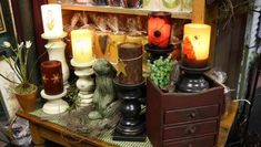 "6"" candles in cinnamon-mustard with timer $6.99 It's all about the experience at Homespun Treasures. The store gives shoppers the feeling of being right at home with warm colors, smells, textures, and a vintage atmosphere. Decor, lighting and artwork create a comforting ambiance to purchase."