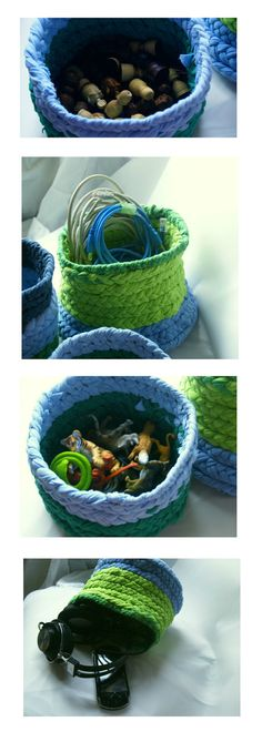 Items similar to Beautifully Handmade, braided Round textile baskets in forest green, lime, slate blue and pale blue on Etsy Rag Rugs, Creative People, Braids, Textiles, Craft, Handmade Gifts, Etsy, Beauty, Vintage