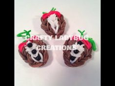 Tuxedo CHOCOLATE COVERED STRAWBERRY Charm. Designed and loomed by Crafty Ladybug on the Rainbow Loom. Click photo for YouTube tutorial.