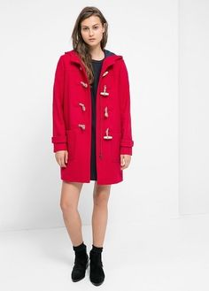 $169, Red Duffle Coat: Mango Outlet Wool Blend Duffle Coat. Sold by Mango. Click for more info: https://lookastic.com/women/shop_items/315810/redirect