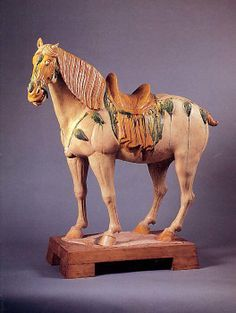 Figure of a Horse Period: Tang dynasty (618–907) Date: late 7th–first half of the 8th century Culture: China Medium: Earthenware with thr...