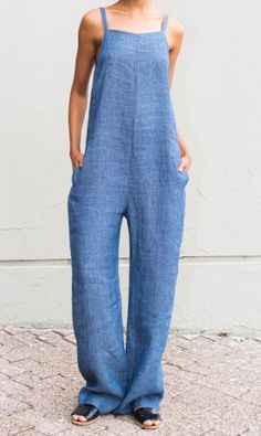 • Jumpsuit with adjustable straps and side seam pockets • 86% Linen 14% Cotton • Fabric made in Italy • Dry-clean Only • Made in U.S.A. 40% off...