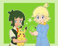 Clemont and Sawyer ♡ I give good credit to whoever made this 👏 Sawyer Pokemon, Pokemon Universe, The Future Is Now, Drawing Projects, Pokemon Sun, Catch Em All, Anime Kawaii, Nerdy, Pikachu