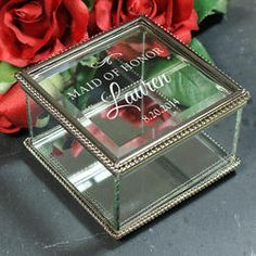 Save 15% with code PINTEREST  Personalized Engraved Wedding Party Jewelry Box