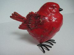 Red Bird Color Washed Distressed Cottage Chic Art Deco French Country Mod Retro Decor Gift. $8.00, via Etsy.