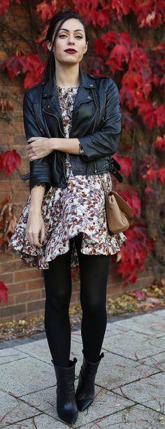 Grey Multi Fall Floral Mini Dress
