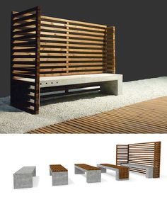 Public bench / contemporary / in wood / concrete OUT03 by PRR Architetti c.m.c.2. 0