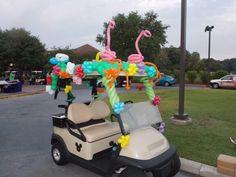 Decorated golf cart