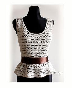 Crochet pattern . Peplum Blouse .No 240 por Illiana en Etsy