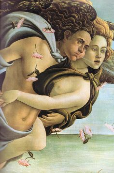 Sandro Bottecilli - (Detail)  The Birth of Venus.   ((The Birth of Venus is one of the world's most famous works of art painted between the year,1482 and 1485. Bottecillis' painting has  become a landmark of XV century Italian style so rich in meaning and allegorical references. Perfect for the IM/\GiN/\RiUM )) Tempera on canvas. Uffizi Gallery, Florence Italy.