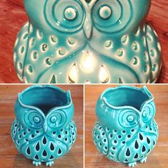 Porcelain Owl candle holder fresh off the kiln!  #pottery #clay #owl #candles #candleholder #ceramics #ceramica #corujas #candlelover #etsy #etsymudteam #owllover #wheelthrown #porcelain #carving